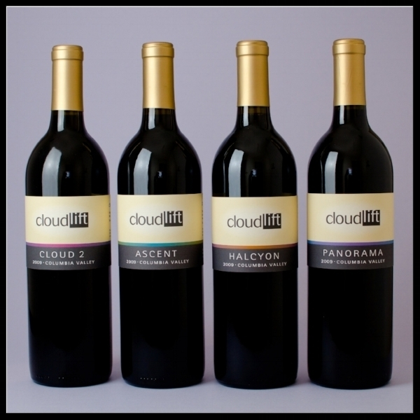 Image of four reds by Cloudlift Cellars - Cloud 2, Ascent, Halcyon and Panorama.