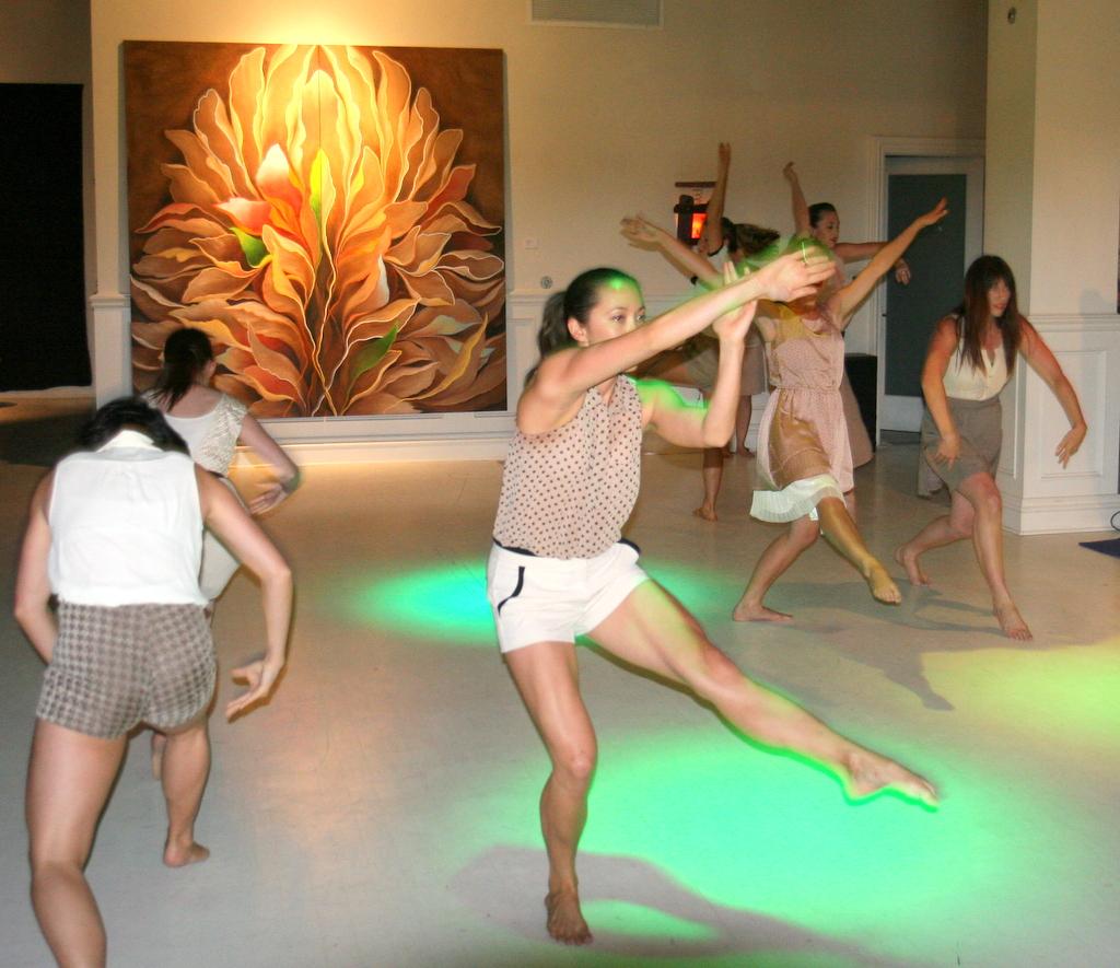 Dance performance in front of Wingspan, A Bee's World, Ca'Dario Gallery, Santa Barbara, CA, 2013.