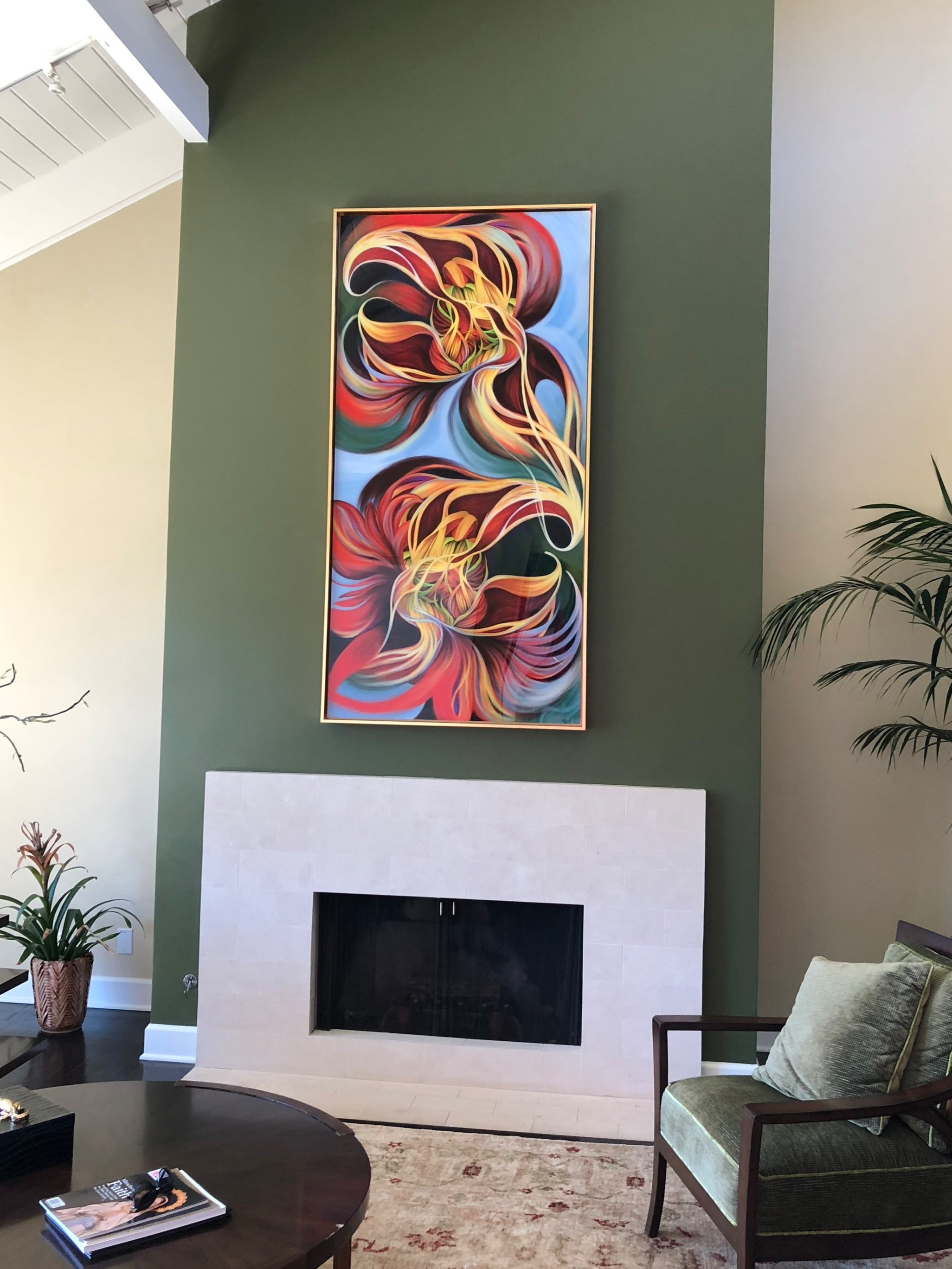 Phoenix Dance, digital painting, hanging in patron's home, 2017.