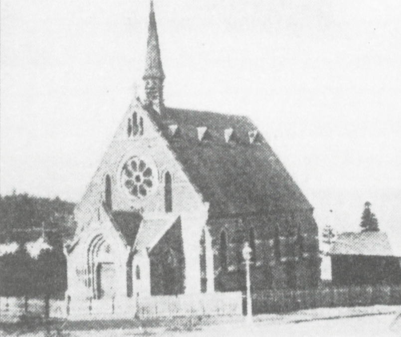 The original church building (from Page 10 of the  Centenary History ). Click for full view.