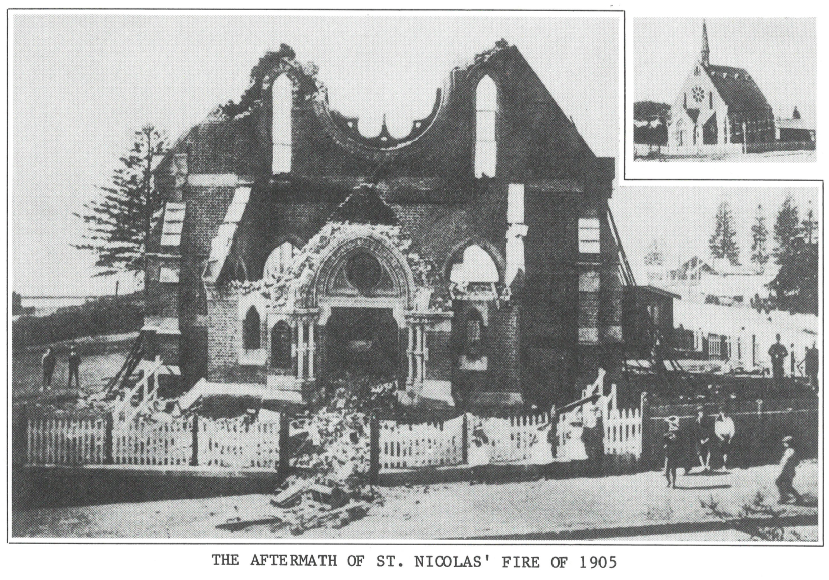 The church building after the 1905 fire (from Page 13 of the  Centenary History ). Click for full view.