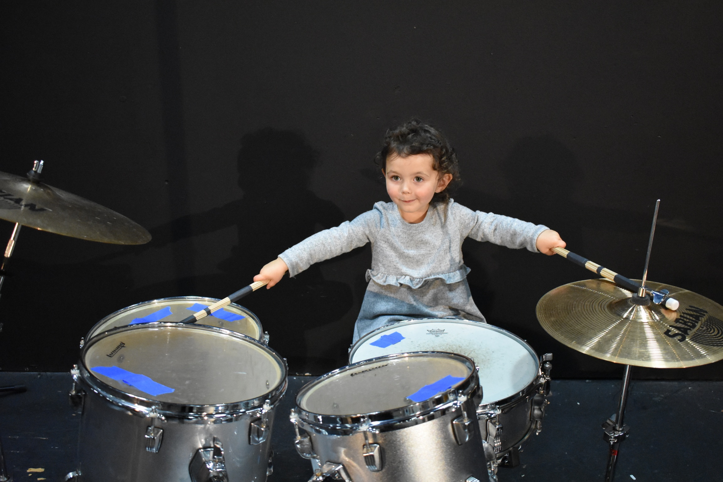 daisy on drums.JPG