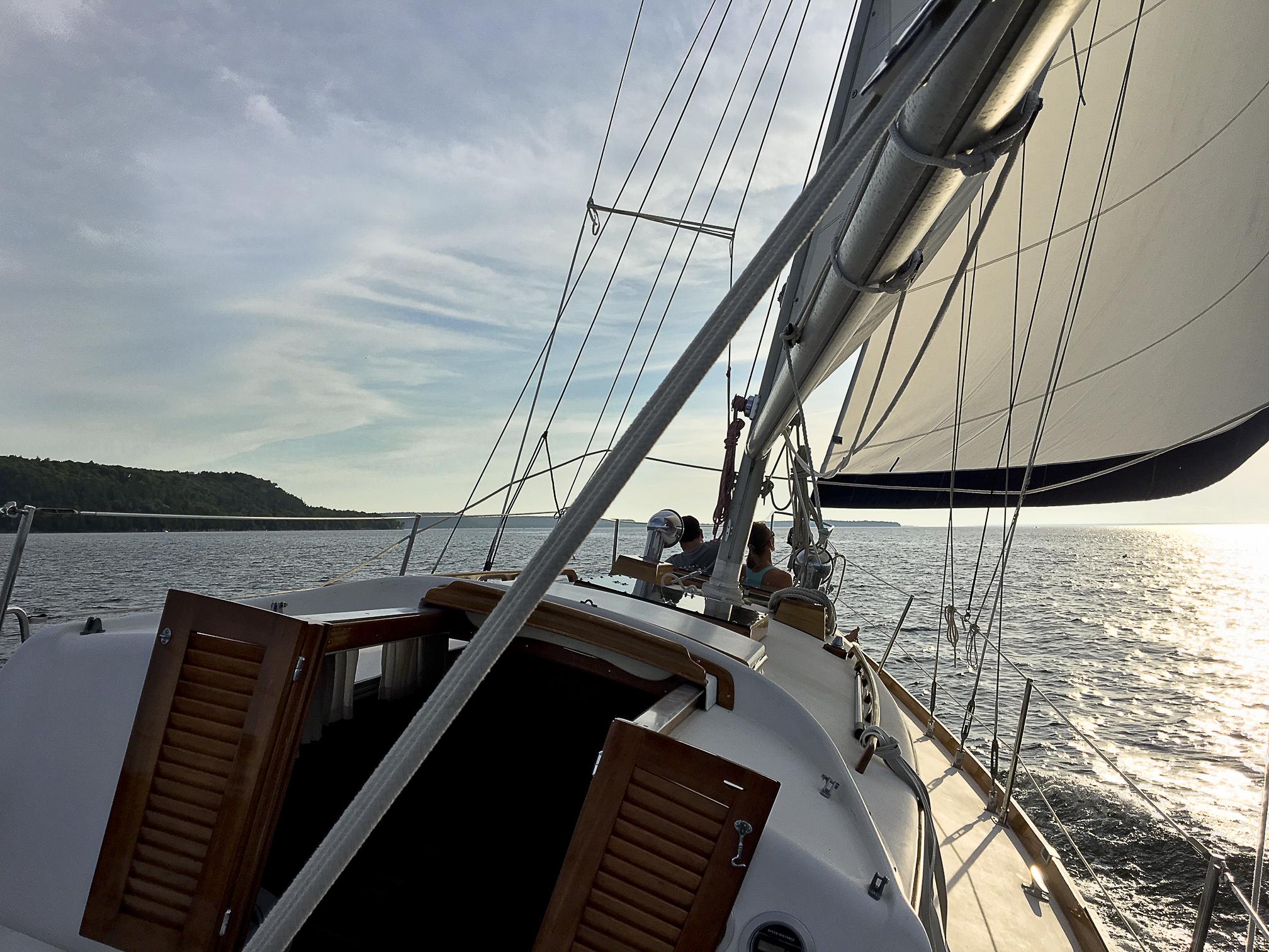 Sailing at sunset in Sister Bay.