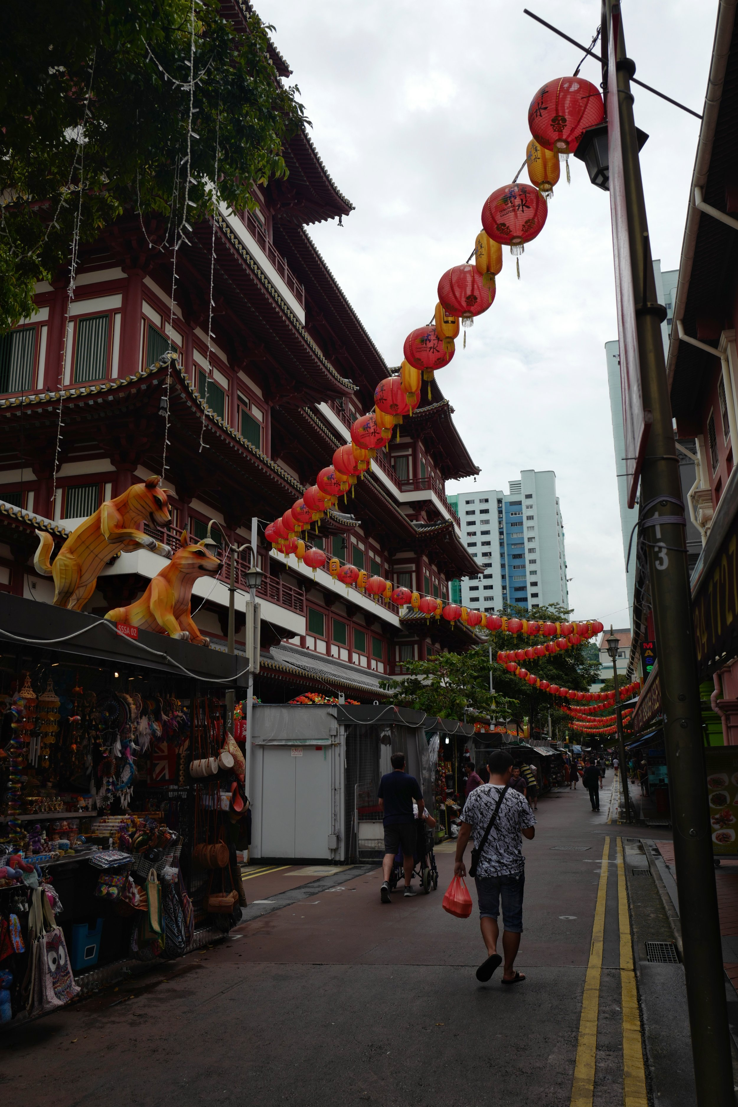 Outside the    Buddha Tooth Relic Temple    during the month of the Mid-Autumn Festival