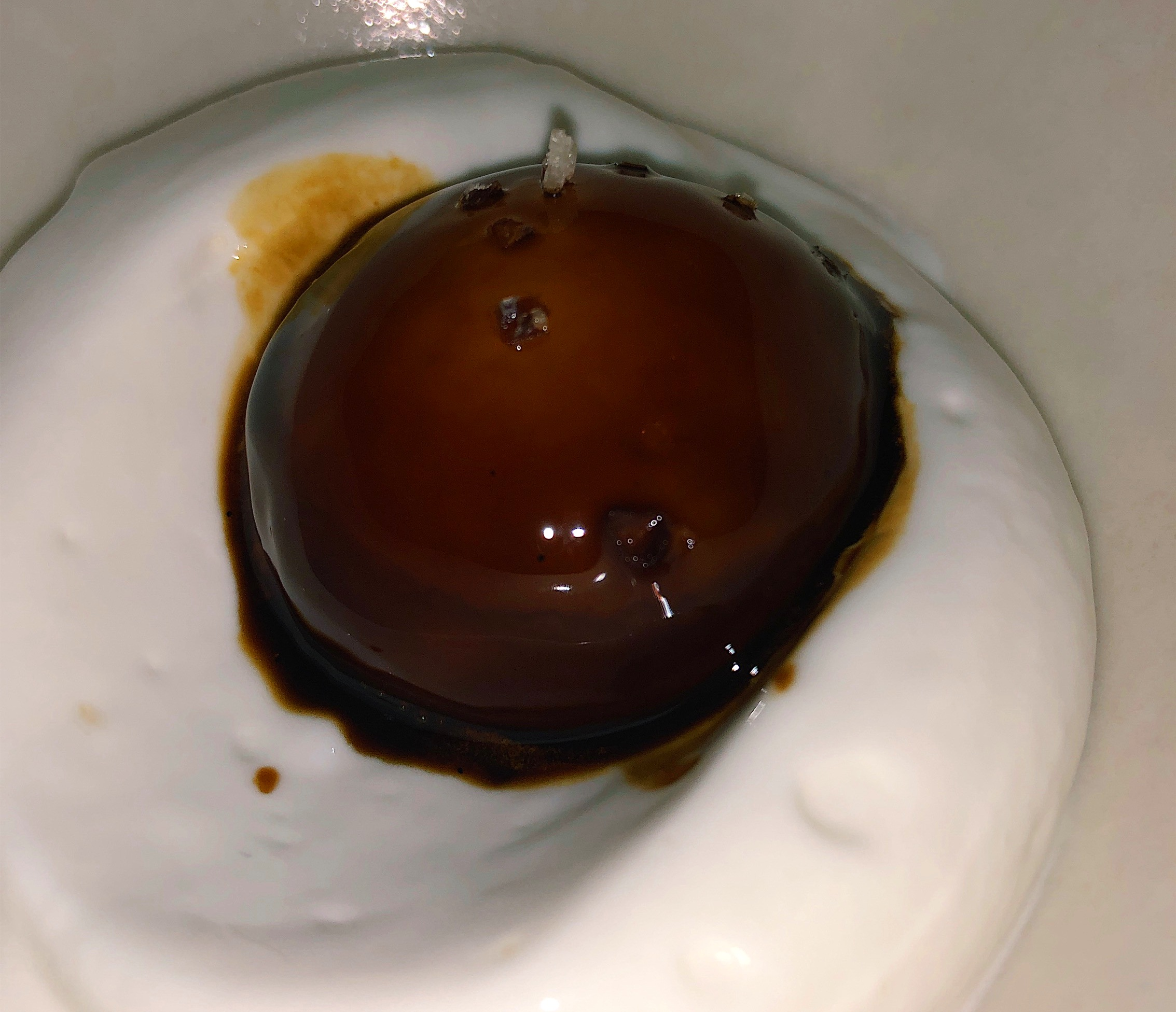Egg Yolk Soaked in Salted Licorice With Frozen Yogurt Meringue