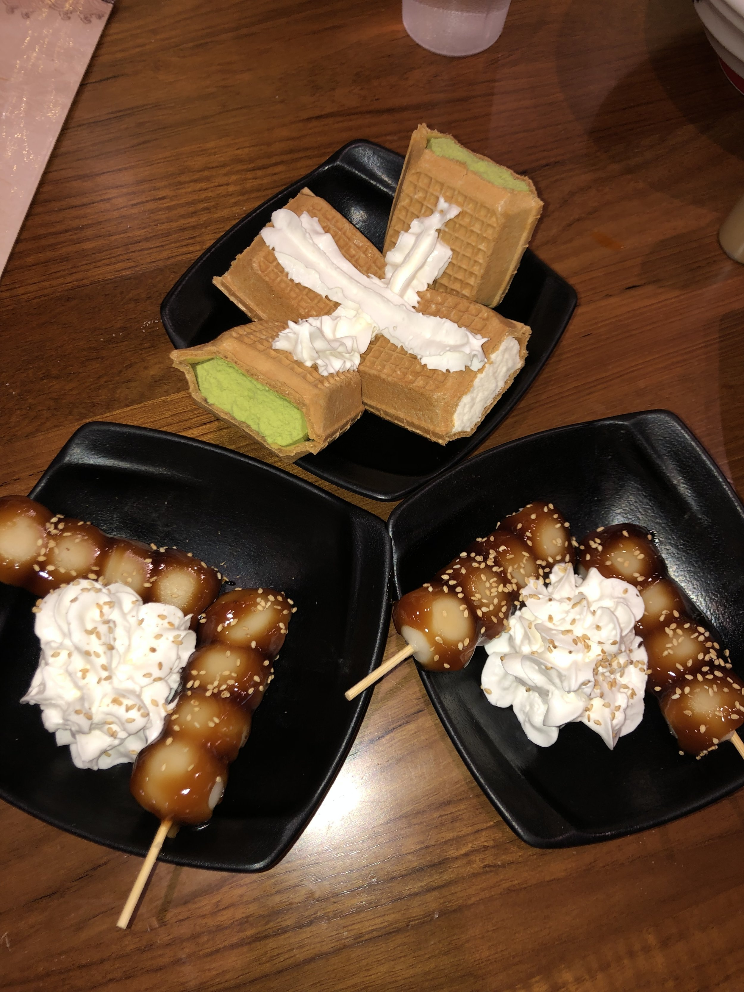 Mochi Dumplings (bottom), Japanese Style Waffles & Ice Cream (top)