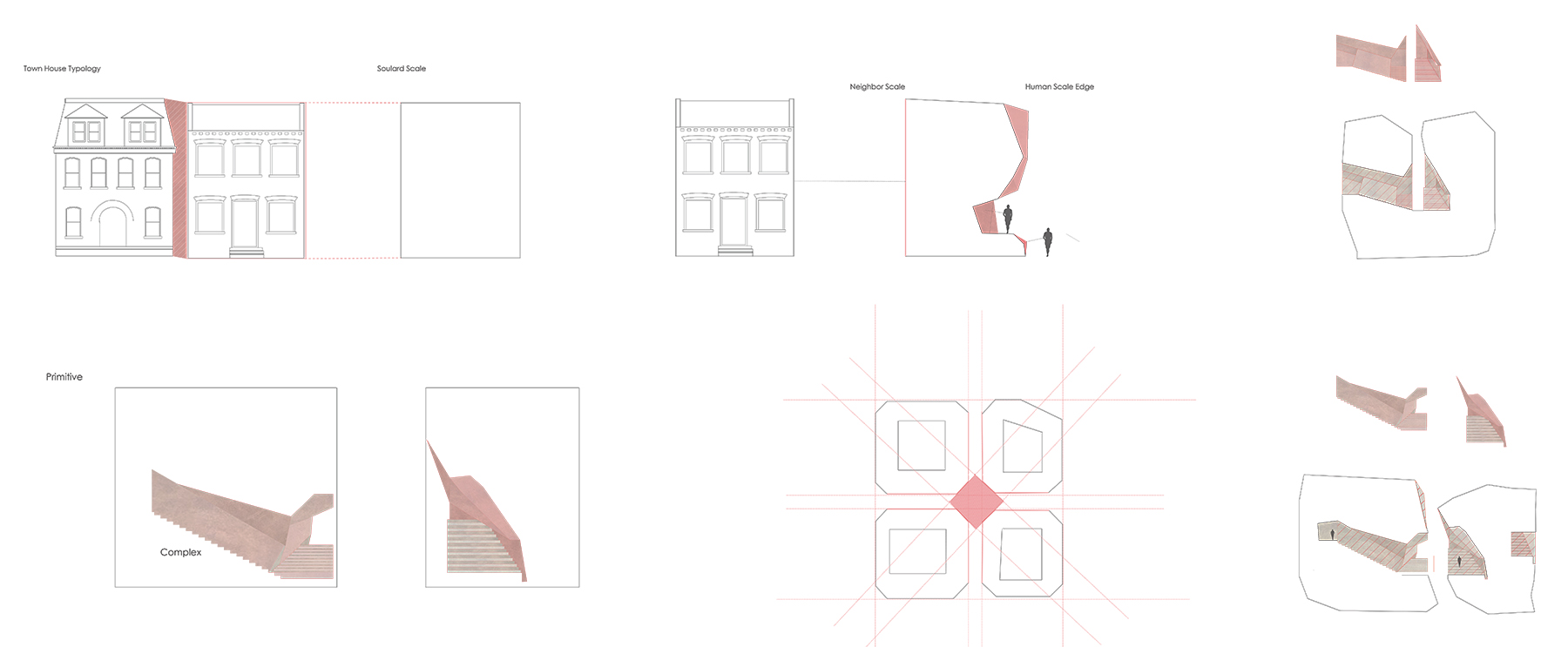 Makio studied the scale of the buildings in the neighborhood, dividing his building volume into four parts to keep the volumes and gaps fitting with the surroundings. He also studied the exiting gaps and then developed a language with more variation, based on his eco-unit volumetric study.