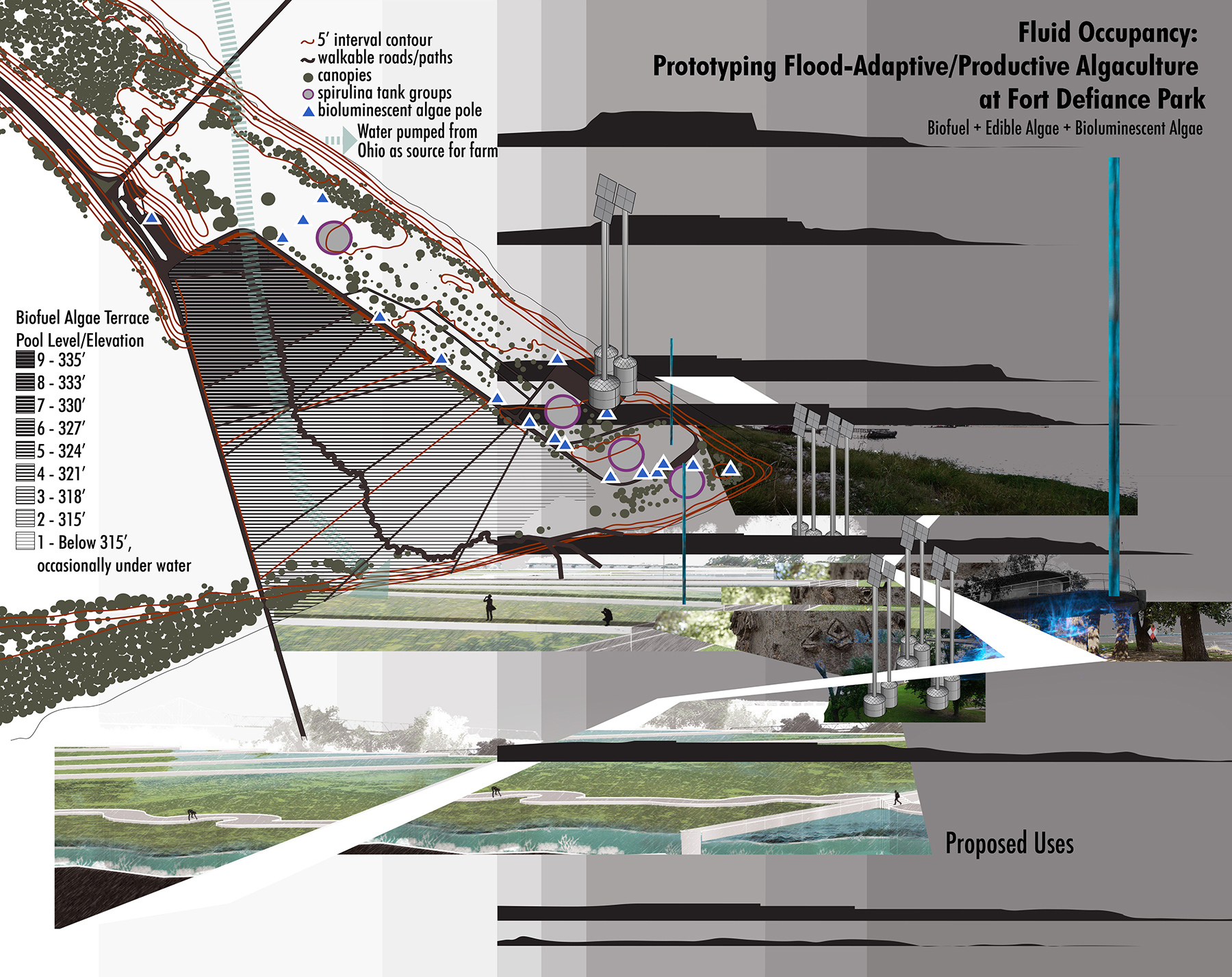 Dongzhe Tao, digital drawing showing site and proposal metrics.