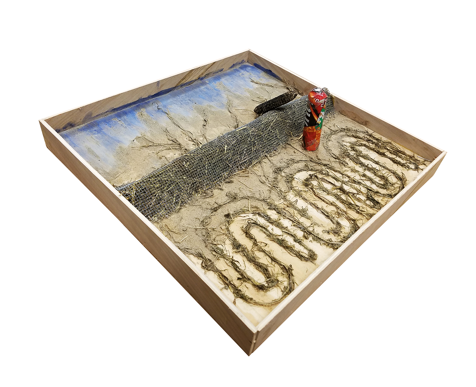 Natia Kapanadze, wood, wheat straw, found mesh, Doritos package, corn, watercolor. Drift Model shows how levees keep river water out of floodplain industrial cropland, but leach nutrients into the Mississippi River.