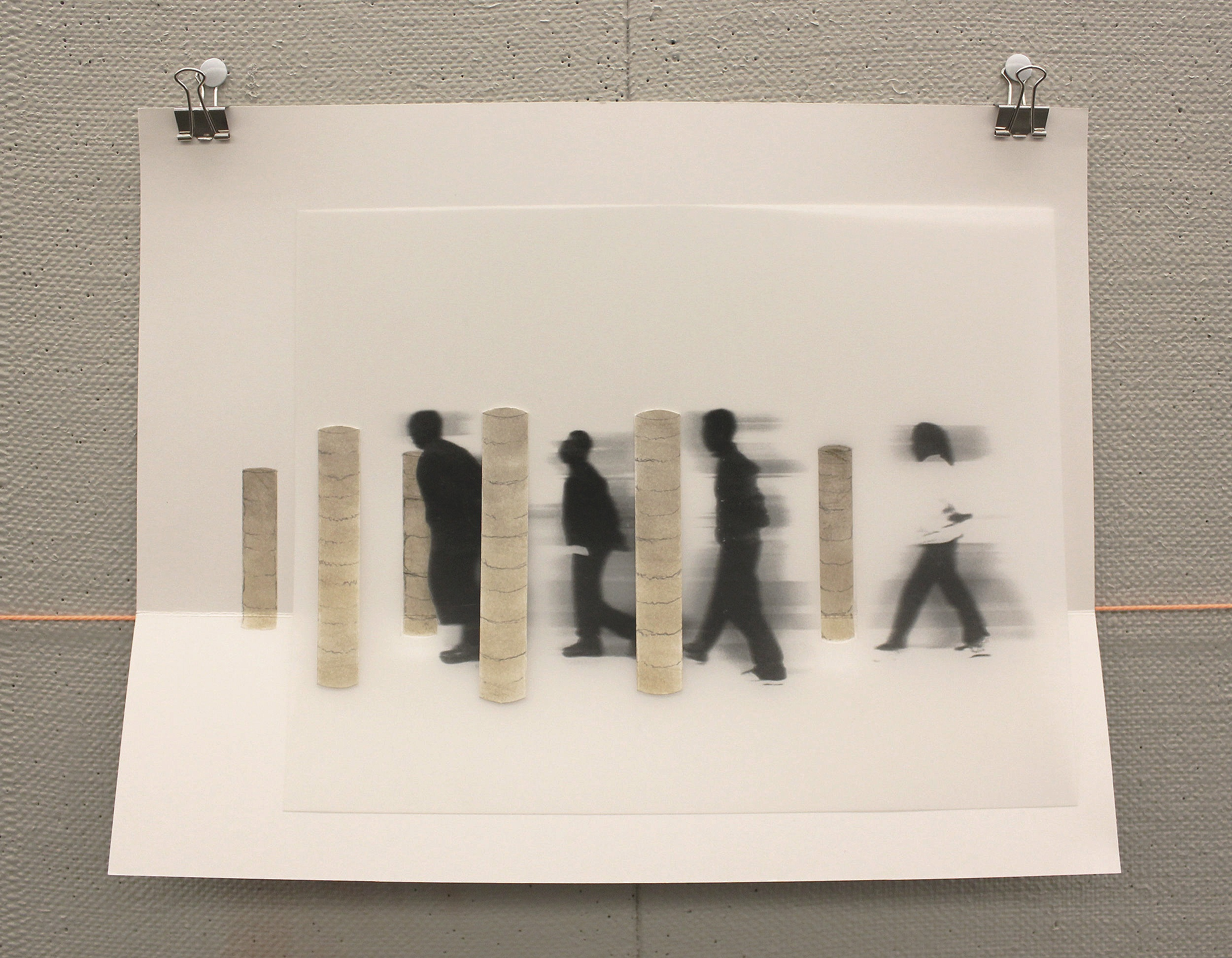 Xerox print on mylar, soil on paper. A gallery showing of site markers sets up the walking tour.