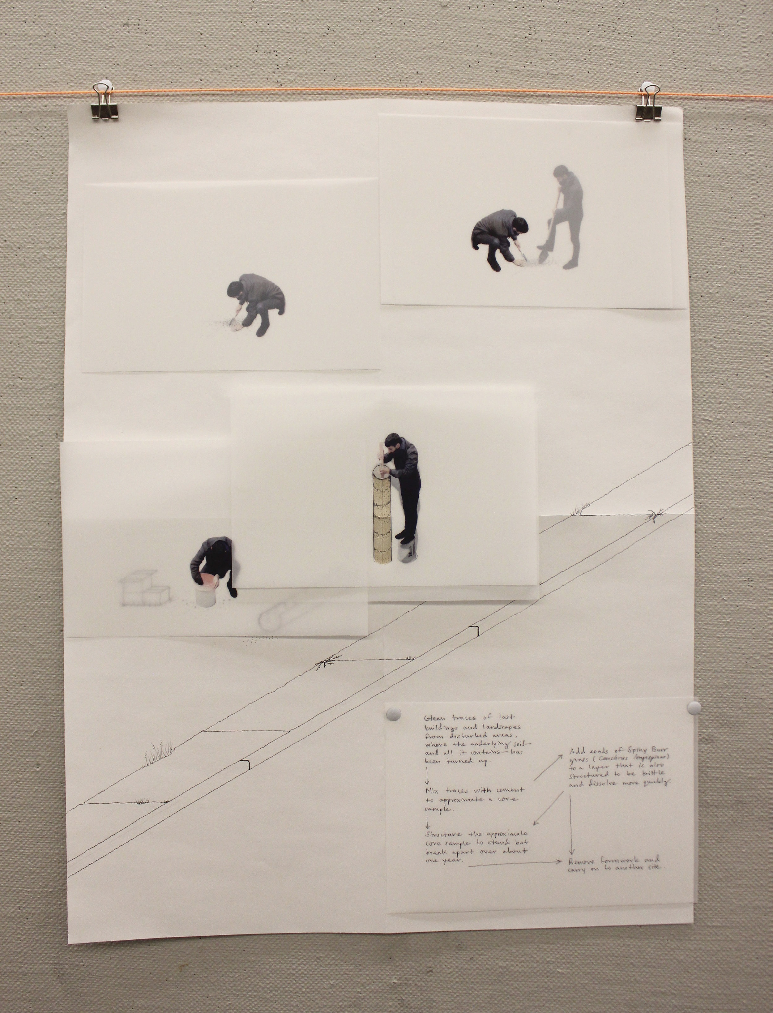 Pen and soil on paper, xerox print on mylar.  A self-portrait axonometric drawing demonstrates the technique on constructing an  Approximate Core  onsite, out of the site itself.