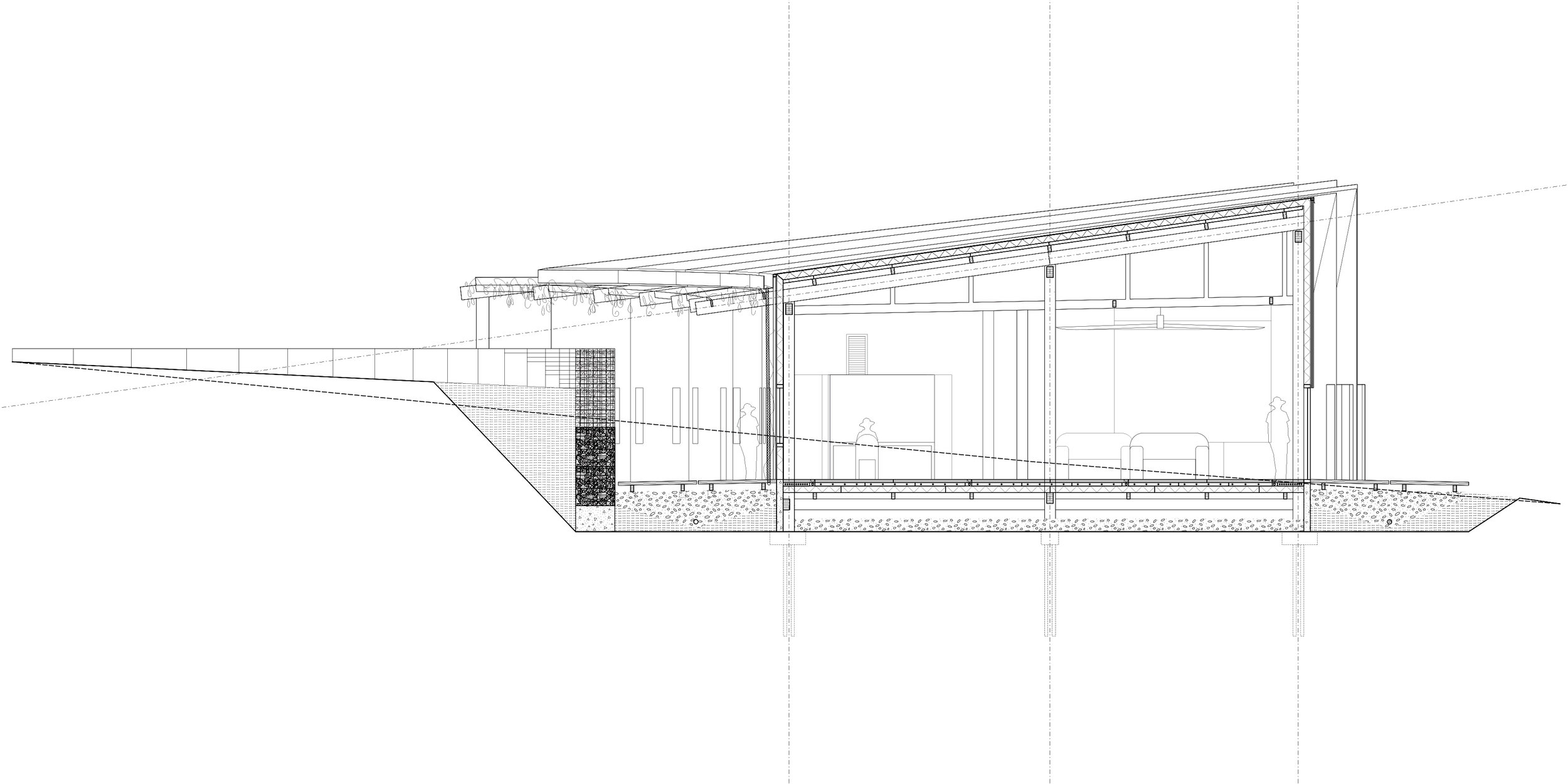 Detail section through hub—office and meeting room.