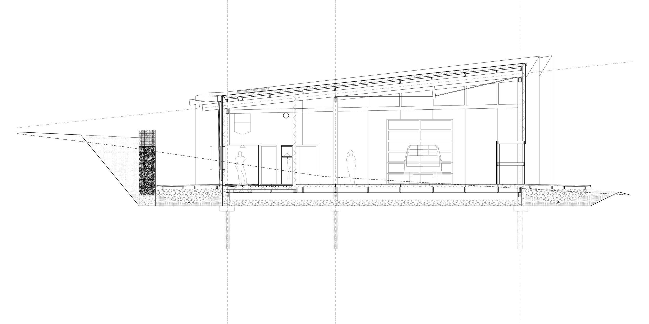Detail section through hub—locker rooms and garage.