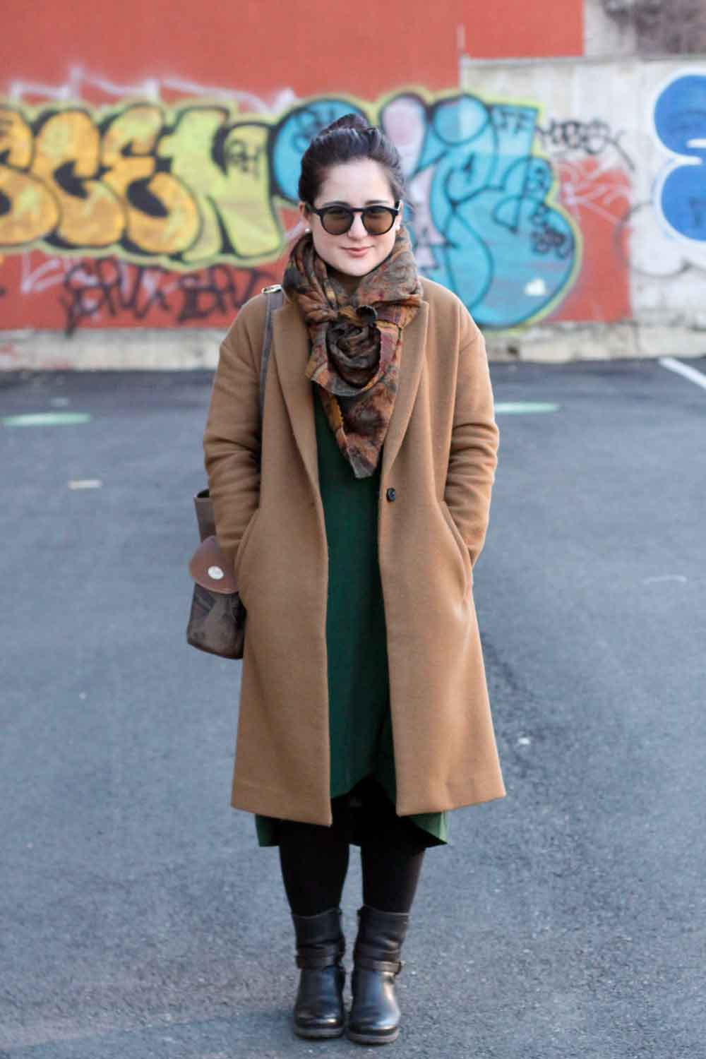 Dress + Coat: Madewell // Scarf + Bag: Vintage // Boots:  Pikolinos // Sunglasses: SEE Eyewear