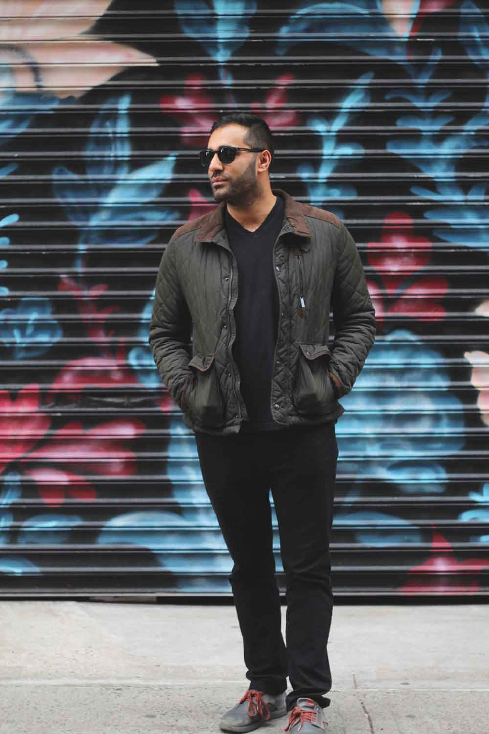 Sunglasses:  Warby Parker  // V-Neck + Jeans:  Uniqlo  // Jacket: Zara // Shoes:  Vico