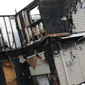 Two storey house burnt down by a house fire