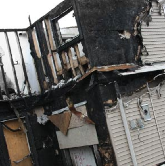 Double story house burnt by a fire