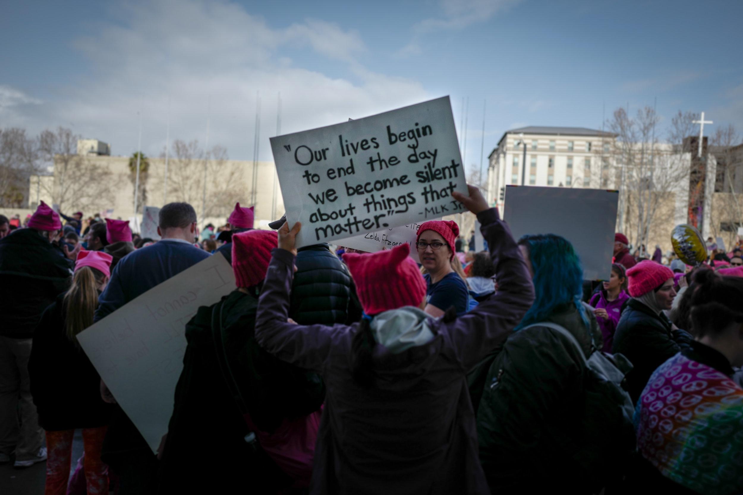 Women's March protestors in San Jose, California on Jan. 21, 2017.  Gordon-Shukwit / Flickr