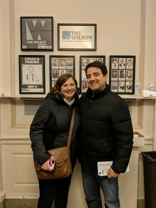 Jim and me at the Wilbur after The Moth show in Boston, MA on 10/18/18.
