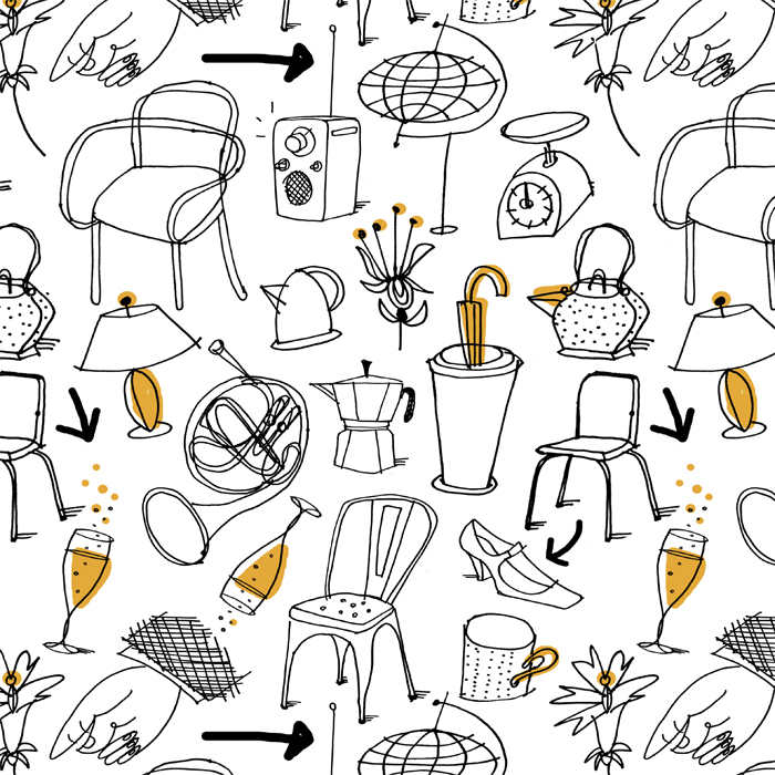 Saul Steinberg objet pattern