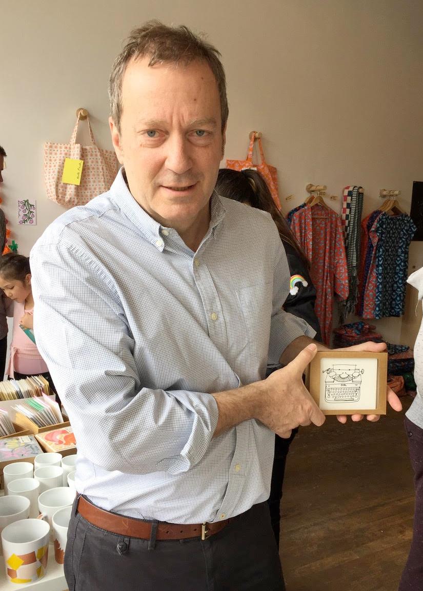 Noah Richler with typewriter cards