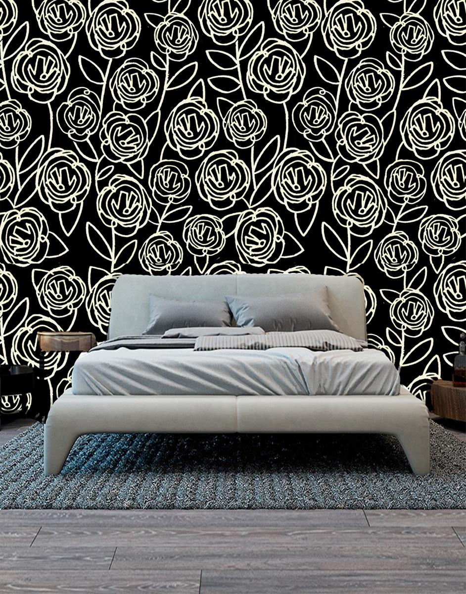 Black Roses - seen here mocked up as wallpaper