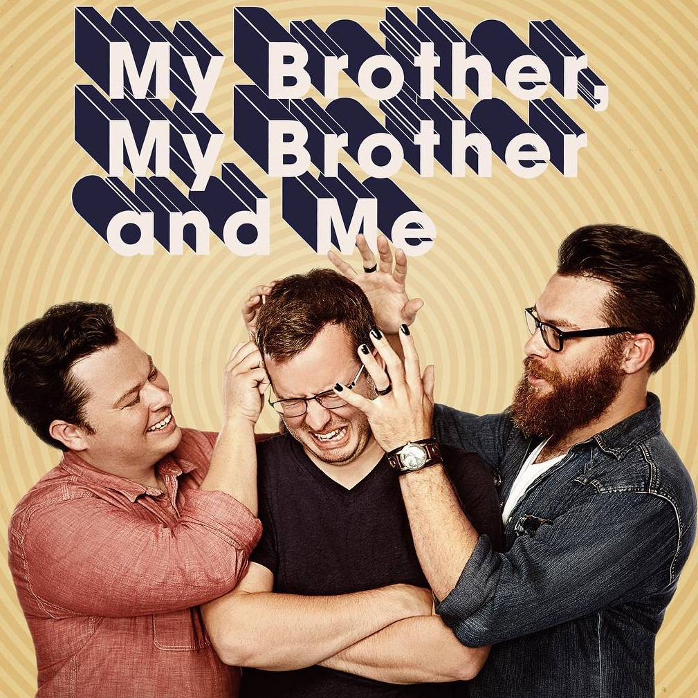 My Brother, My Brother and Me is our TV adaptation of the podcast of the same name that we did with Seeso, NBC's comedy streaming platform. So far we've only done one six-episode season, which subscribers can see all of — there's also a  free sample episode up on YouTube .