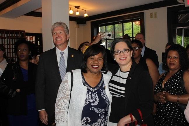 Sec. Moran and Senators Dance and McClellan at the JFV Richmond Justice Reform Kickoff Party.
