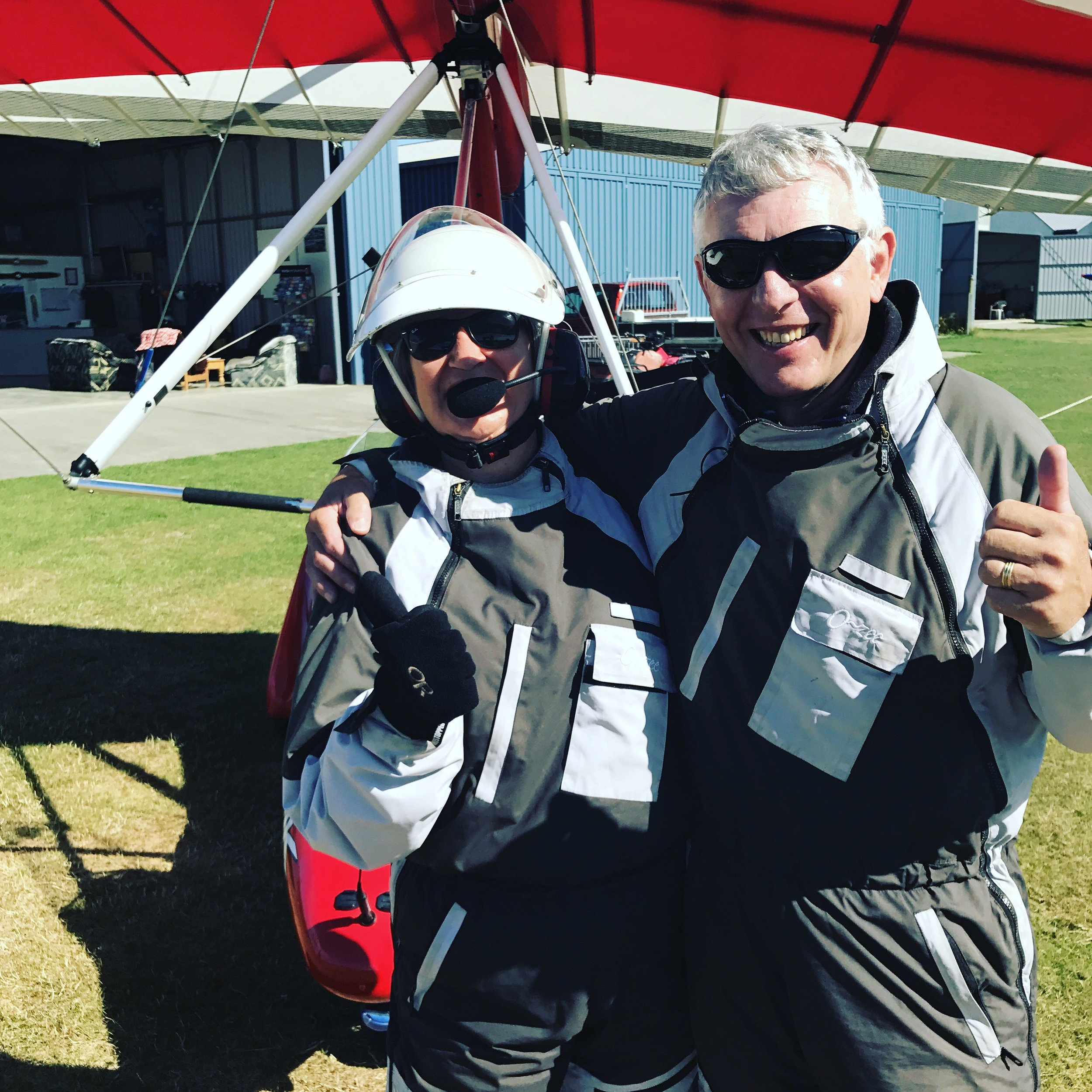 Mr PetMan and I: all kitted up for our flight