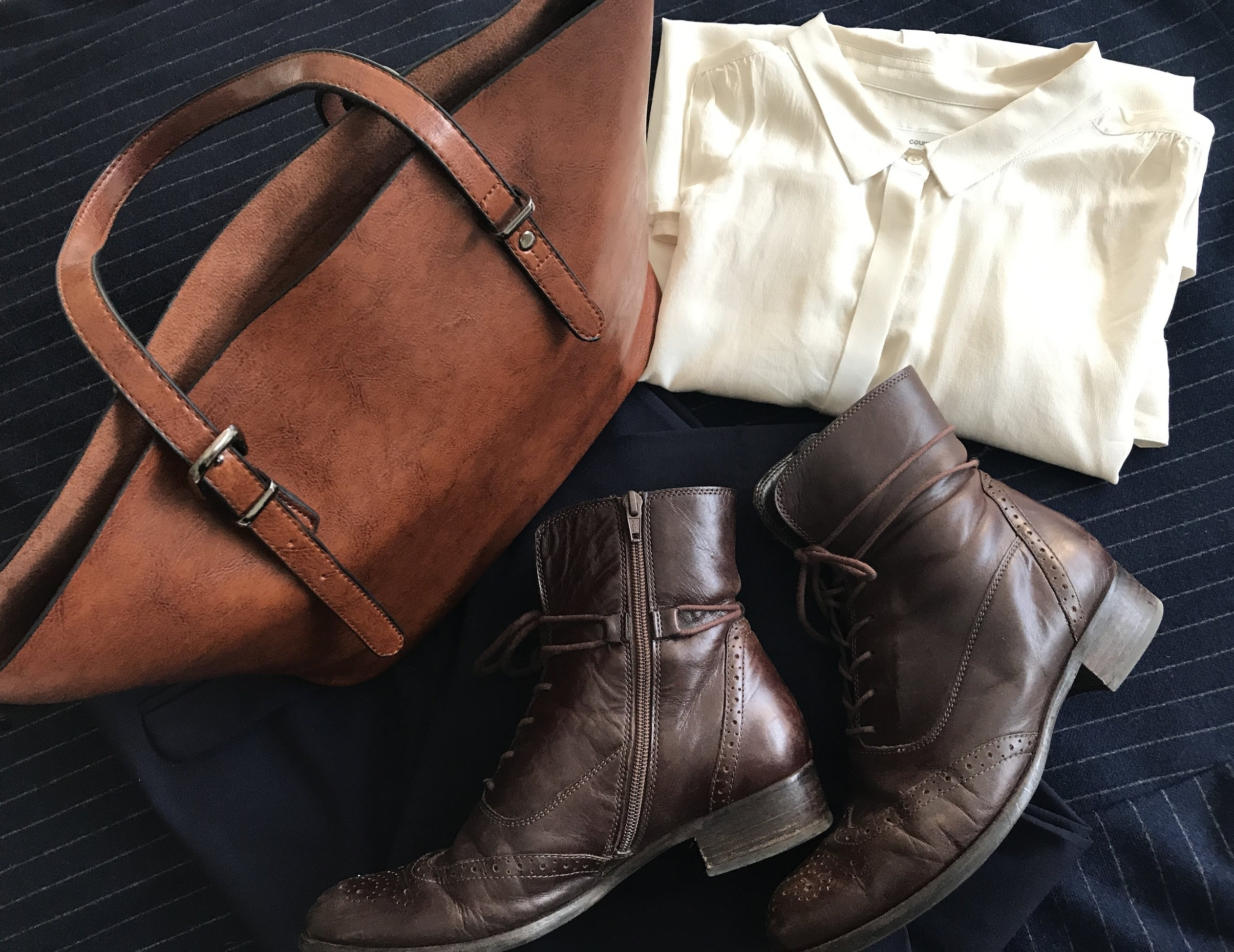 My boots, bag and blouse on top of my wool coat.