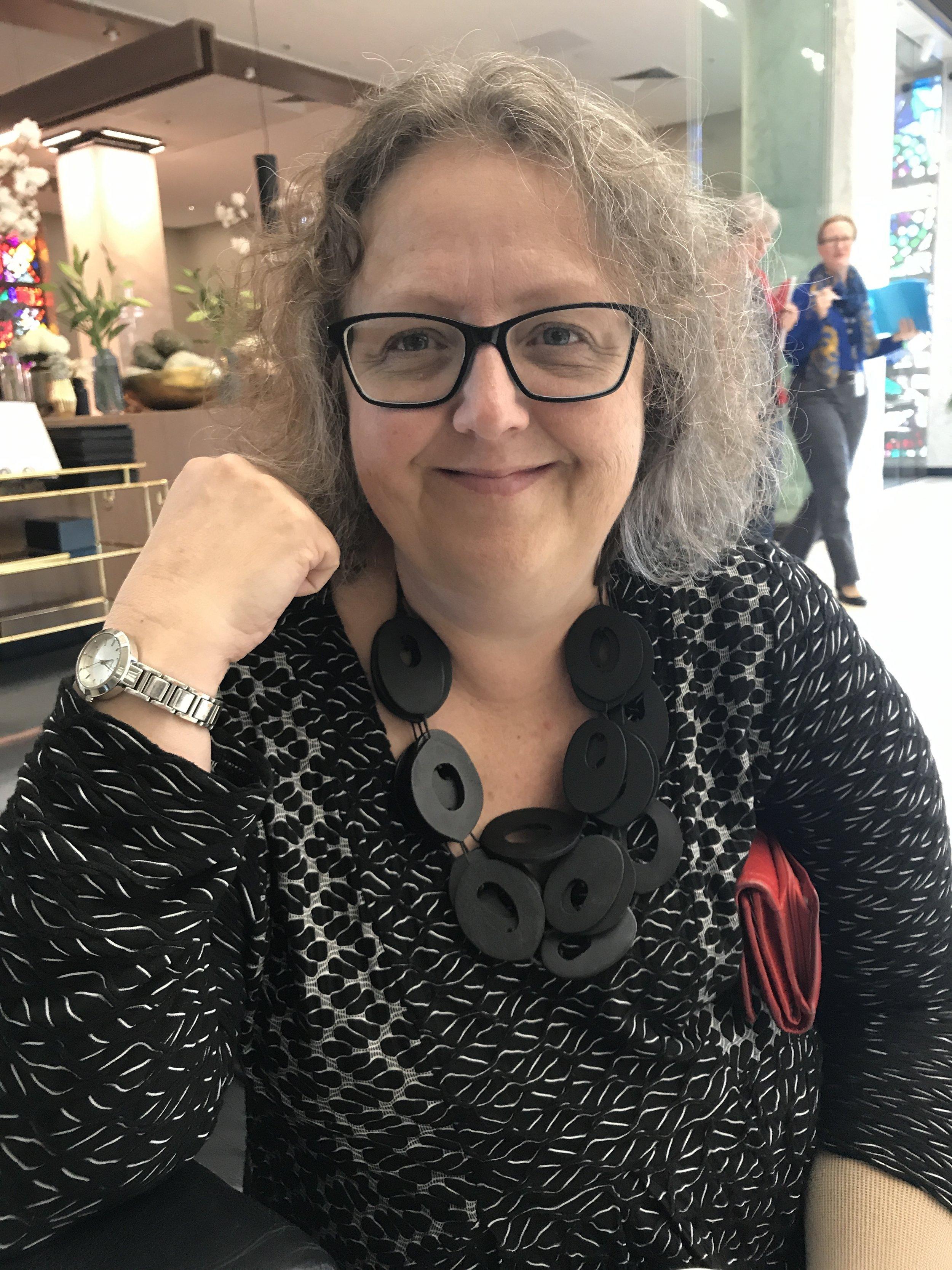 Kathryn showing off her Elk necklace