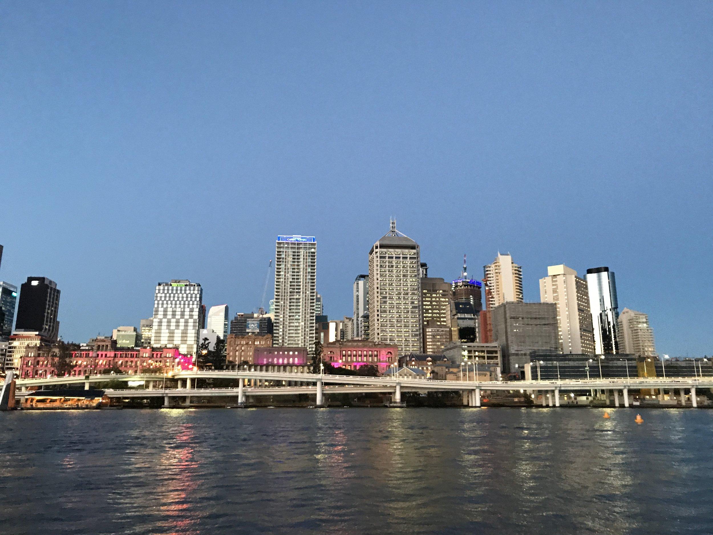 Brisbane city skyline from Southbank