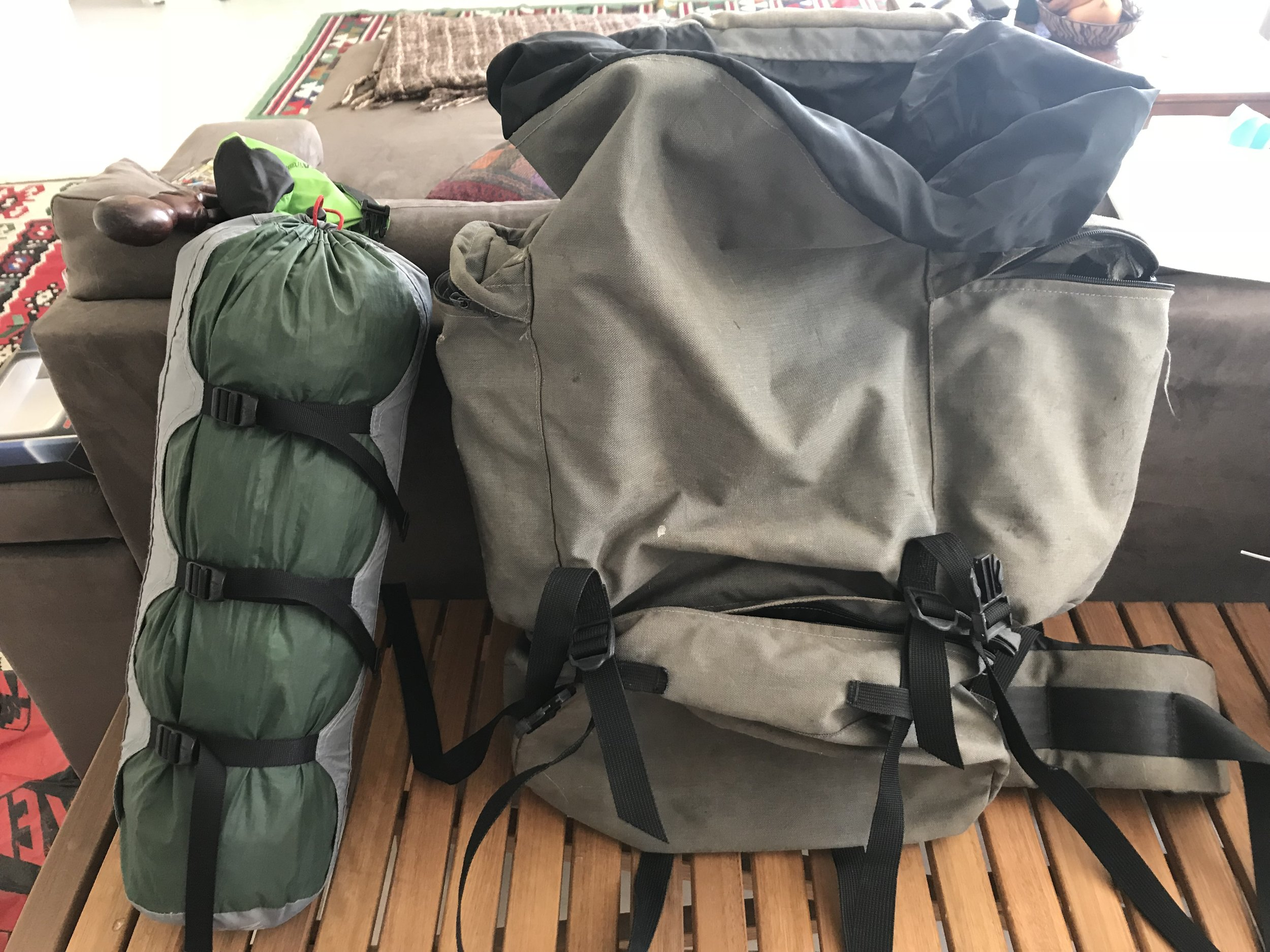 Travel packing camping gear