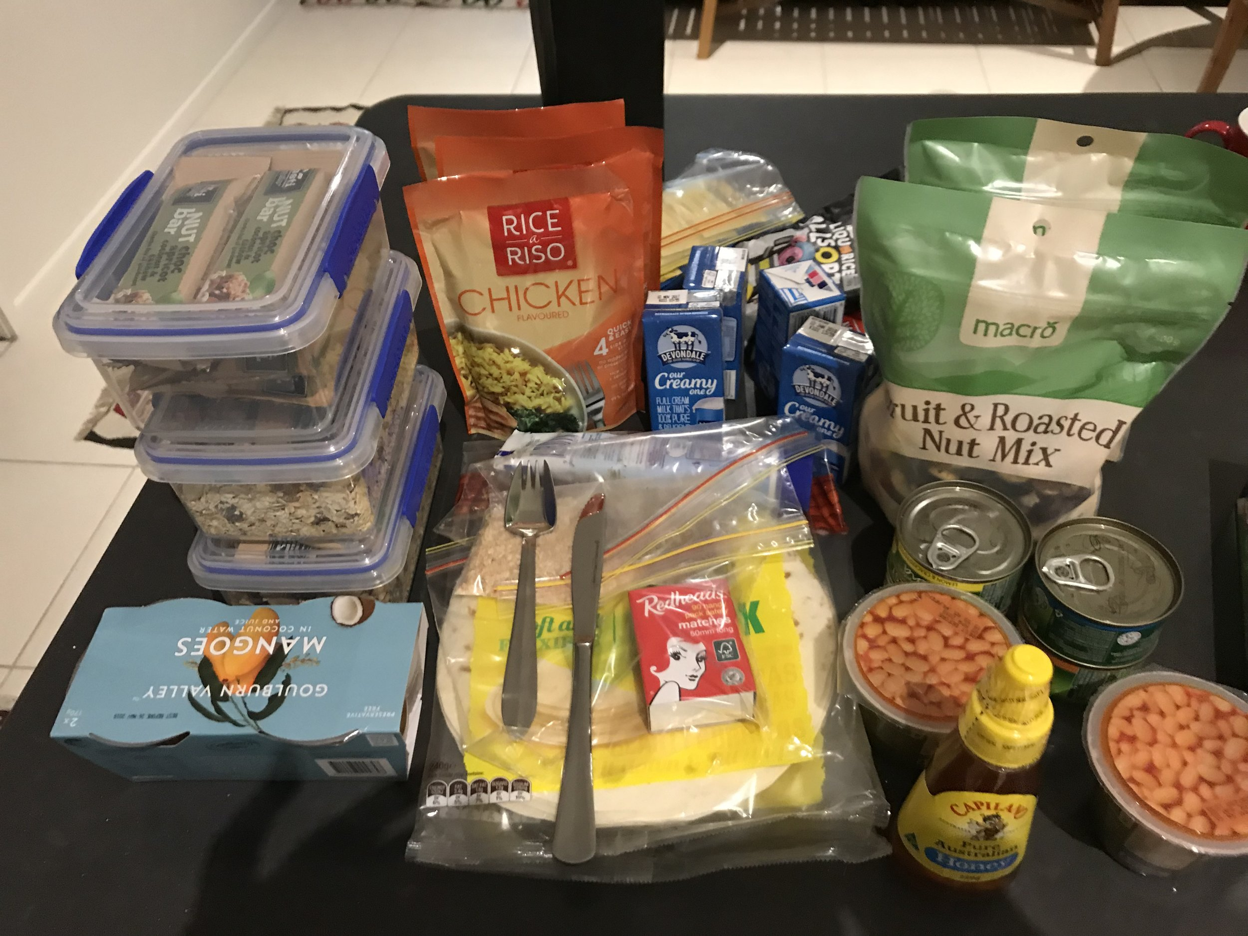 Travel packing food