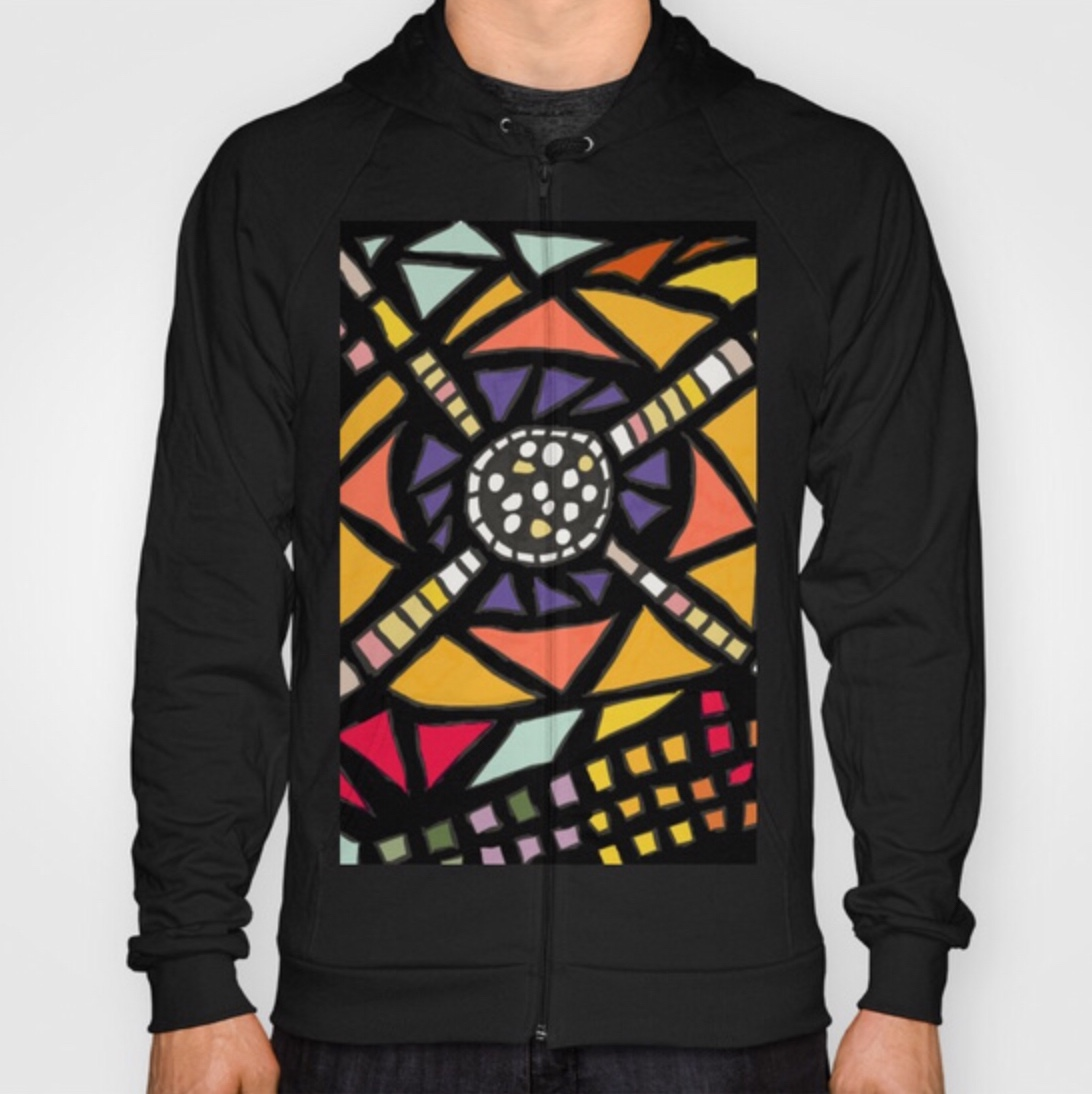 Planepack hoodies: a full range for men and women in a selection of colours and designs. R46.99. This is the 'Leonard' design, inspired by the wonderful Leonard French stained glass windows at the National Library of Australia.