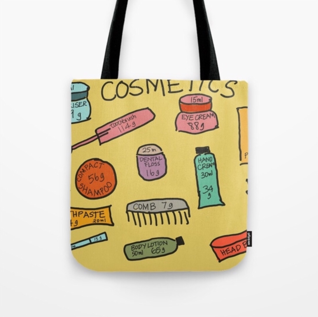 Planepack tote bags. Available in a range of designs and sizes. This one is $20.99. These are my travel cosmetics and toiletries.