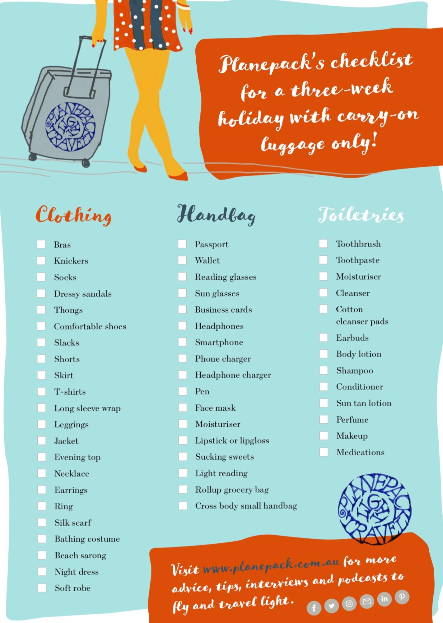 Travel light - Planepack checklist