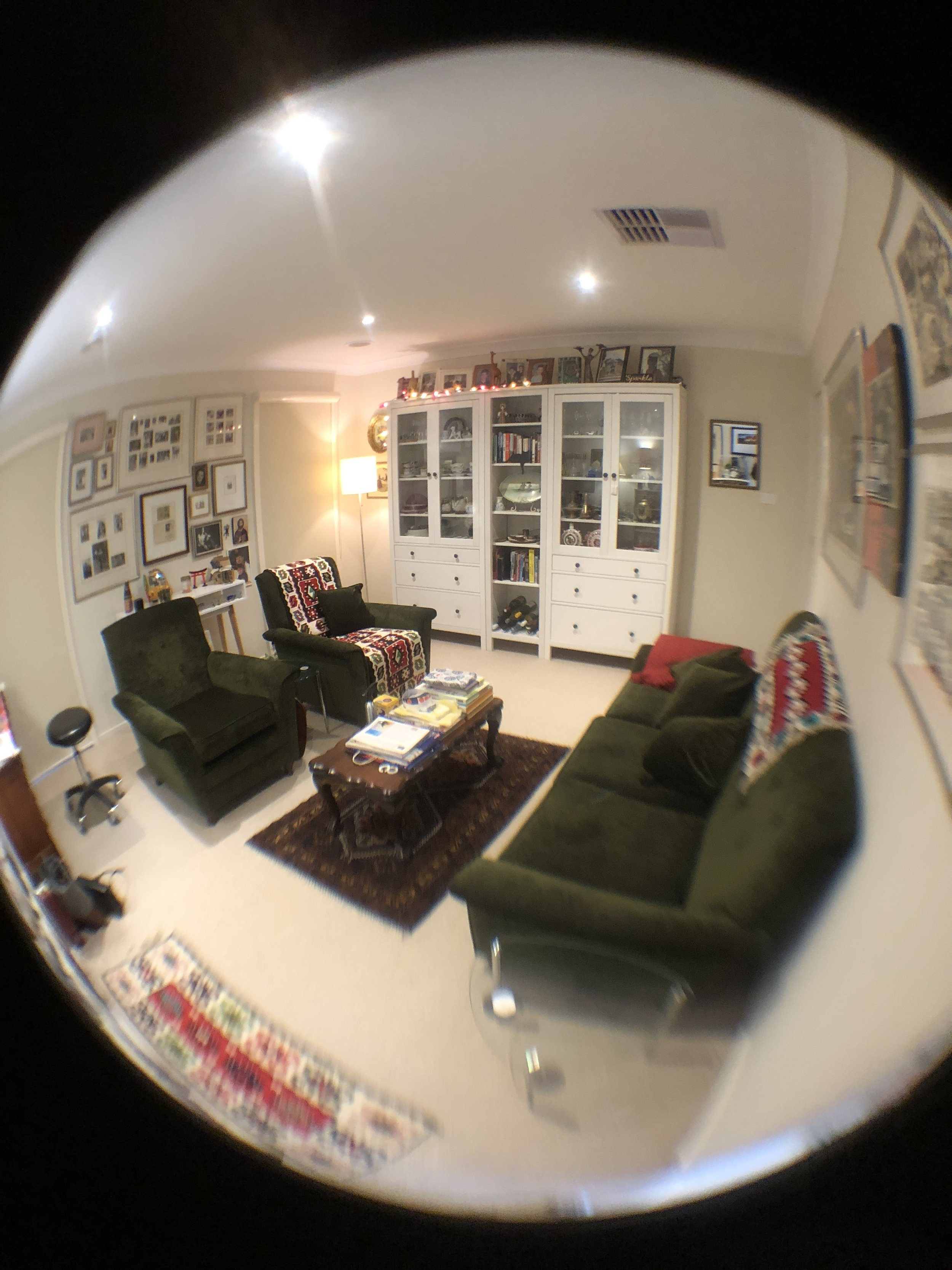 Fish-eye lens photo of studio