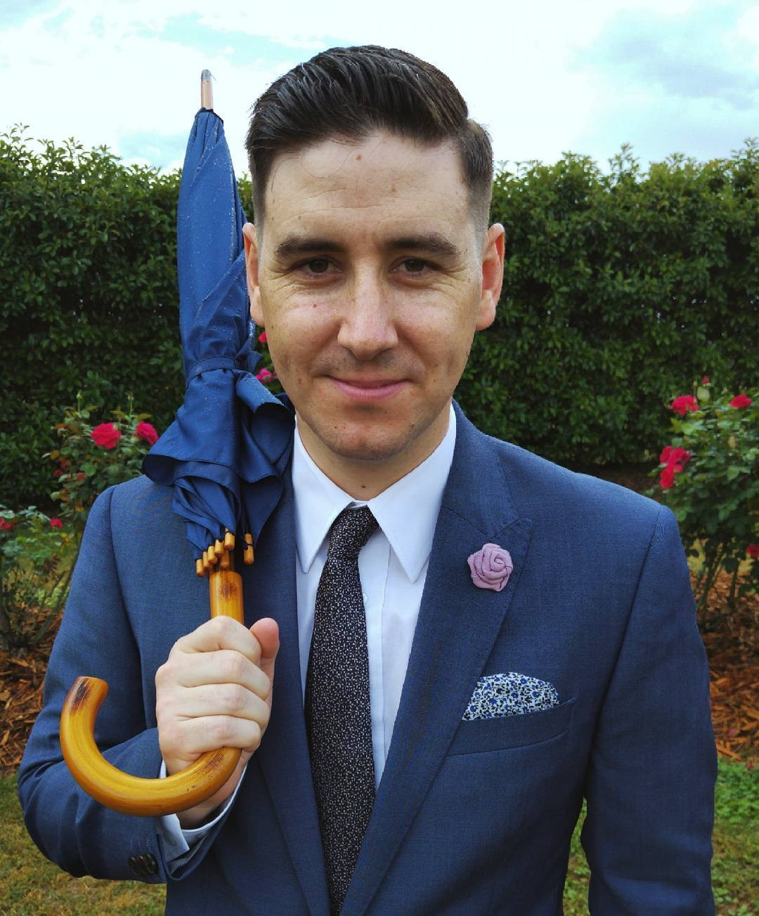 Adam Moore: fashion icon and top Aussie bloke wearing his favourite blue suit - with accessories.