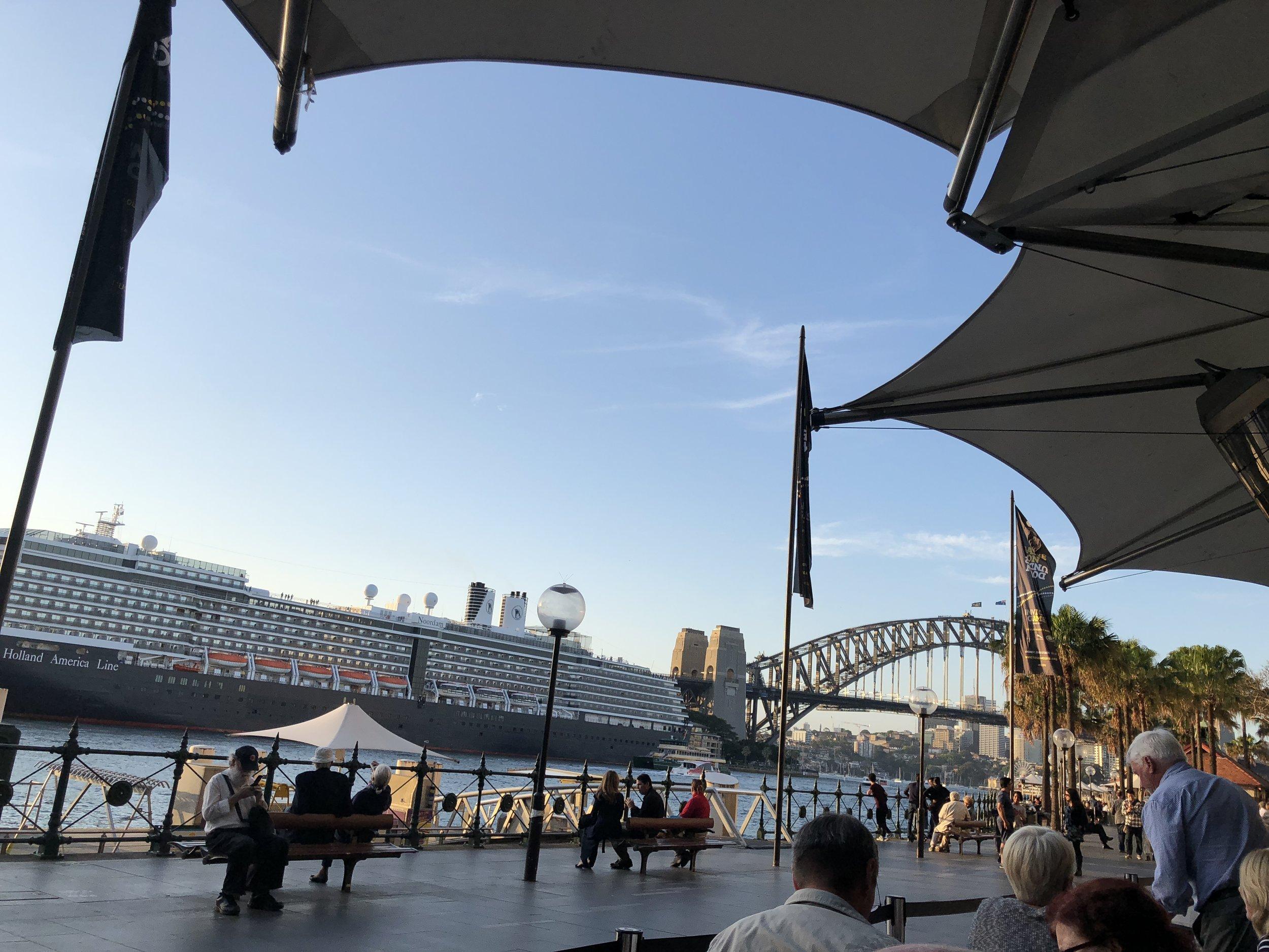 Holland America liner, Circular Quay, with Sydney Harbour Bridge (photo Slobodanka Graham)