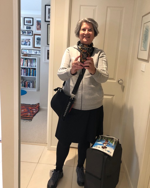 I wore a skort and leggings on the plane. Travelling with carry-on luggage only.