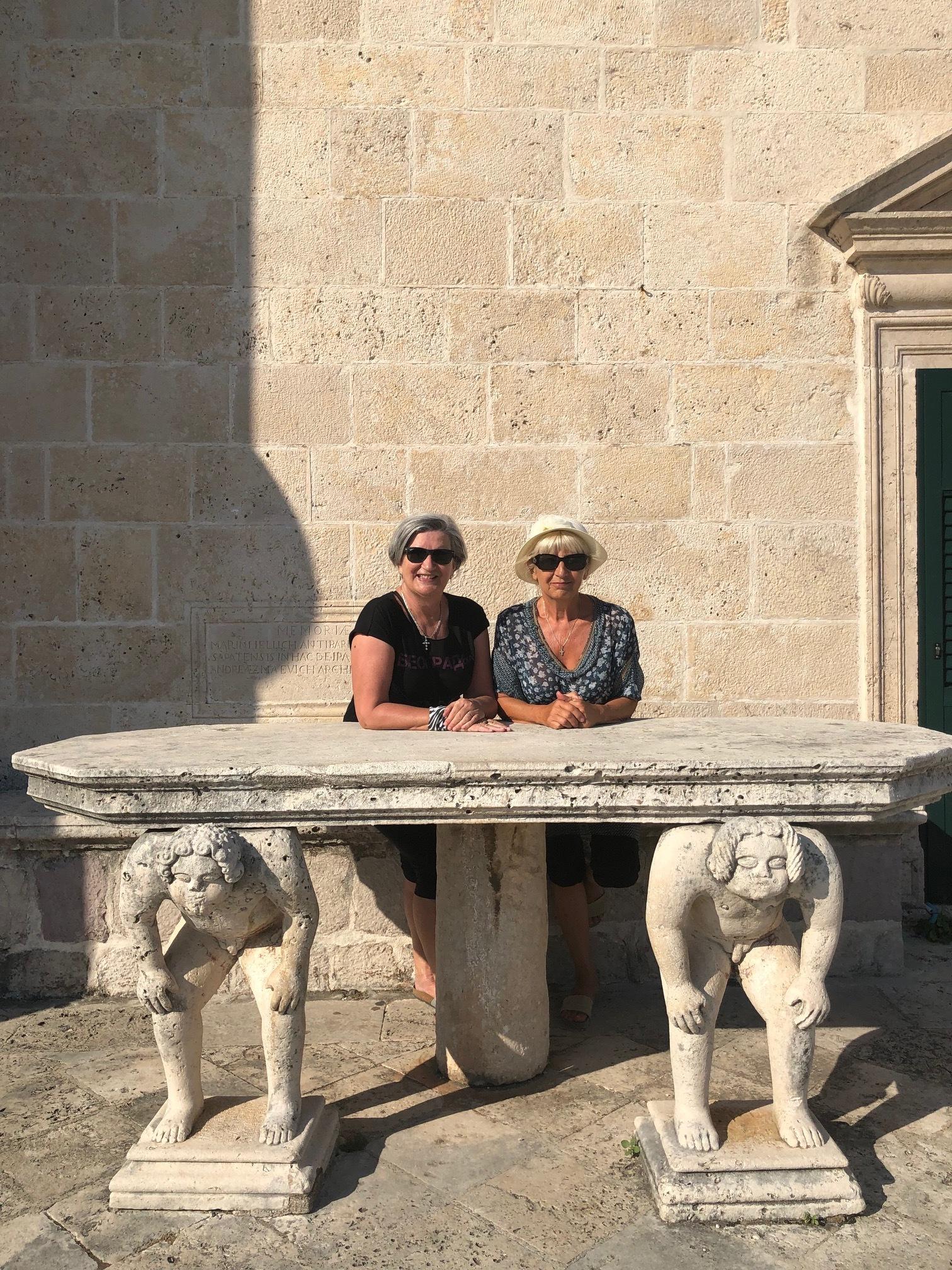 With my friend Danka (at right), visiting Gospa od škrpjela, Boka Kotor, Montenegro