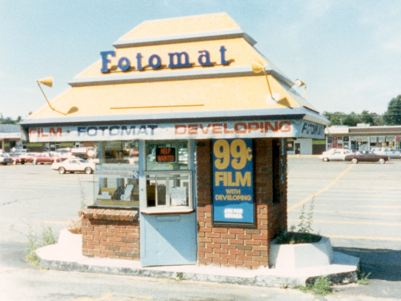 I found this photo of a Fotomat! Wikimedia creative commons.