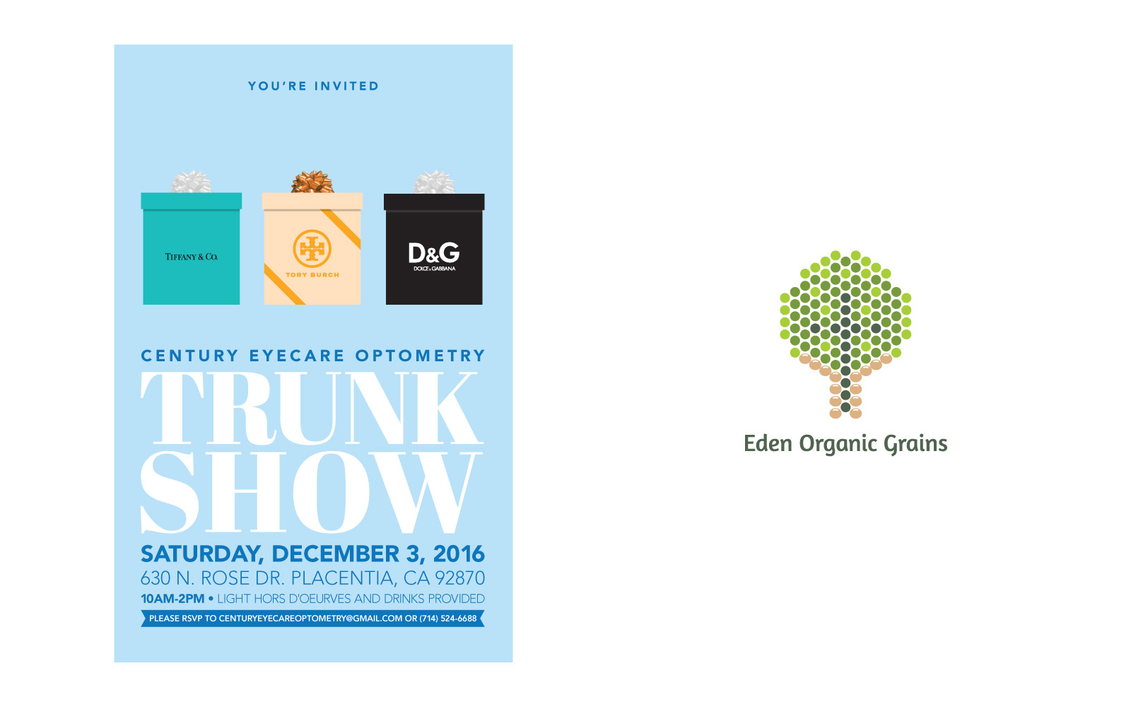 Trunk show card design and Logo design for Eden Organic Grains.