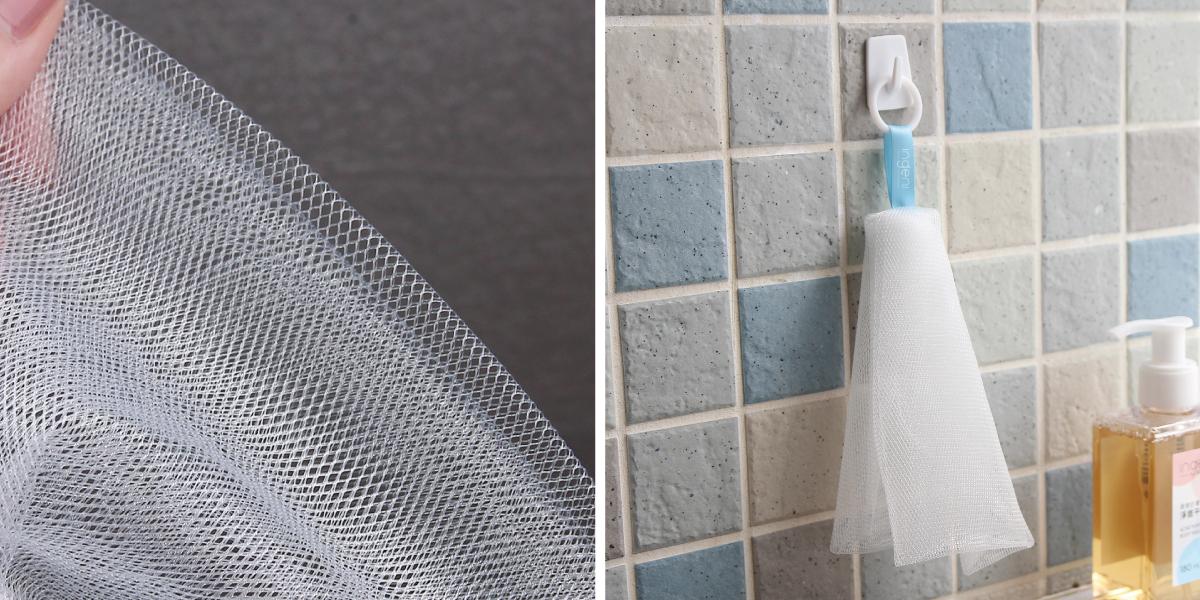 細密而多層的網孔& 鉤環設計 - 輕輕搓揉就能產生大量泡沫,網體為PE材質,細緻不傷肌膚。而鉤環設計能懸掛晾乾,方便下次使用。