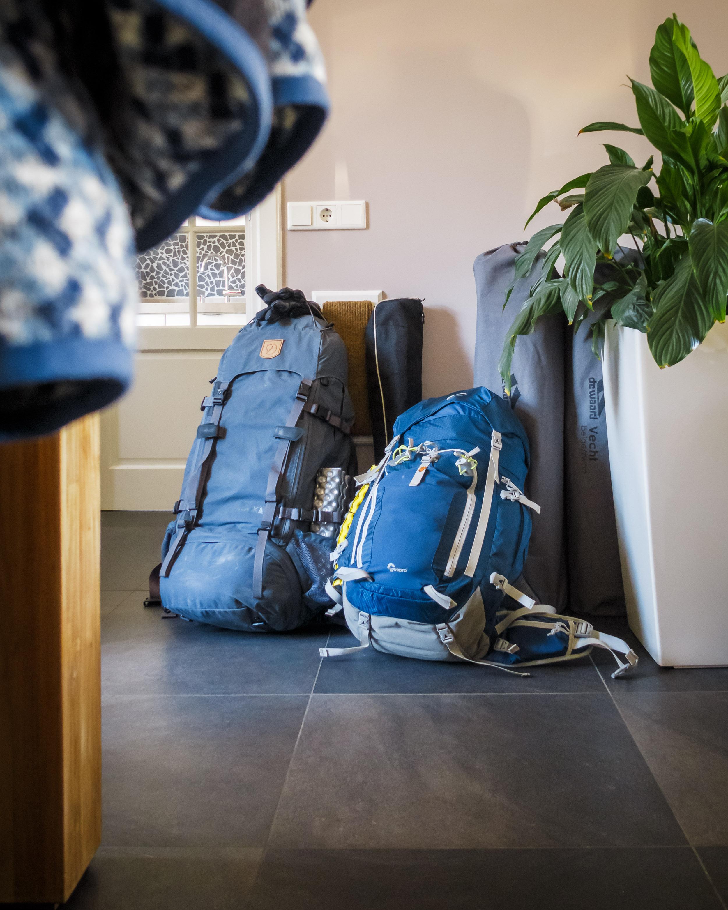De backpacks staan klaar, we kunnen gaan!