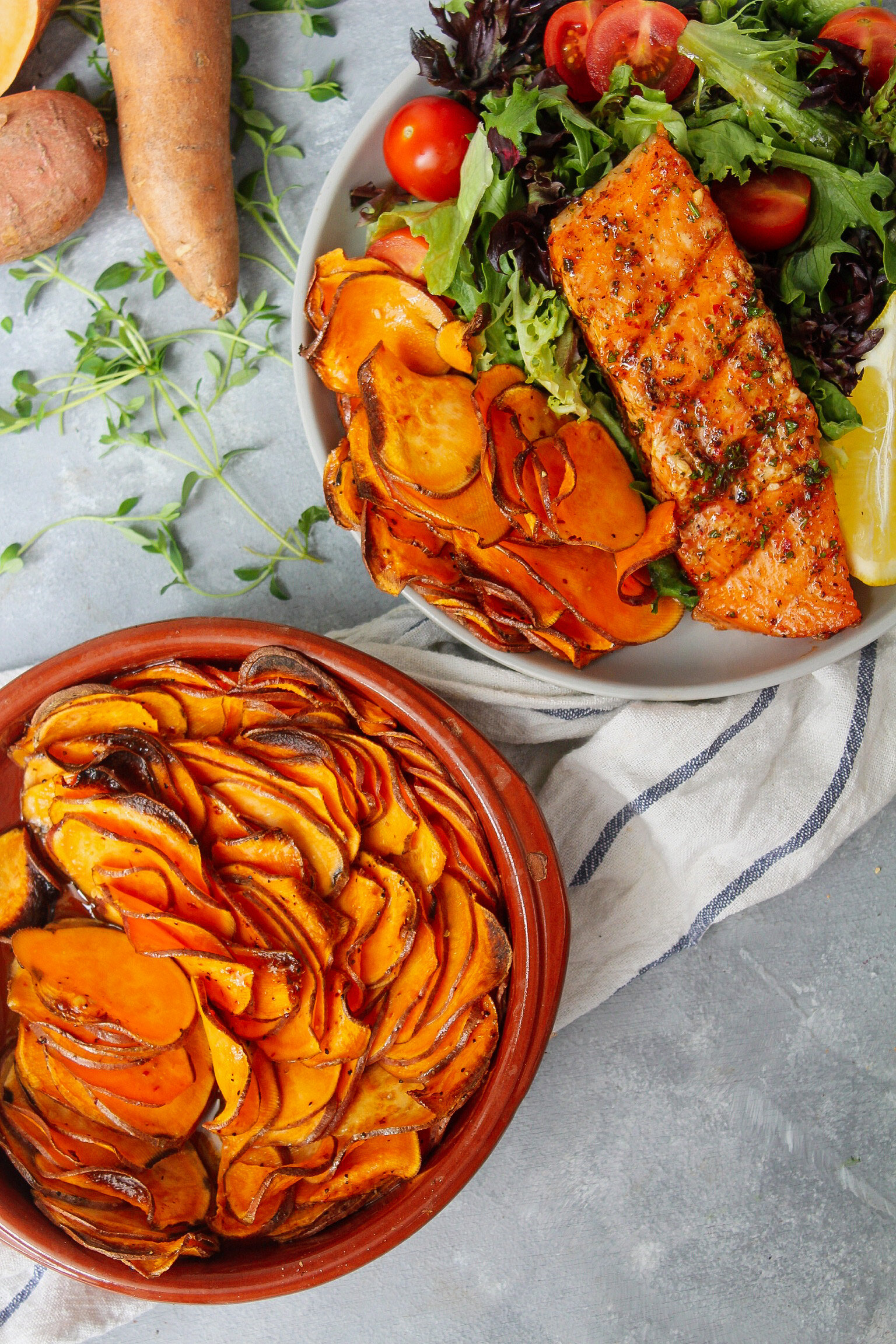 Baked Sweet Potato Slices With Bbq Garlic Herb Salmon Fit Soul Kitchen