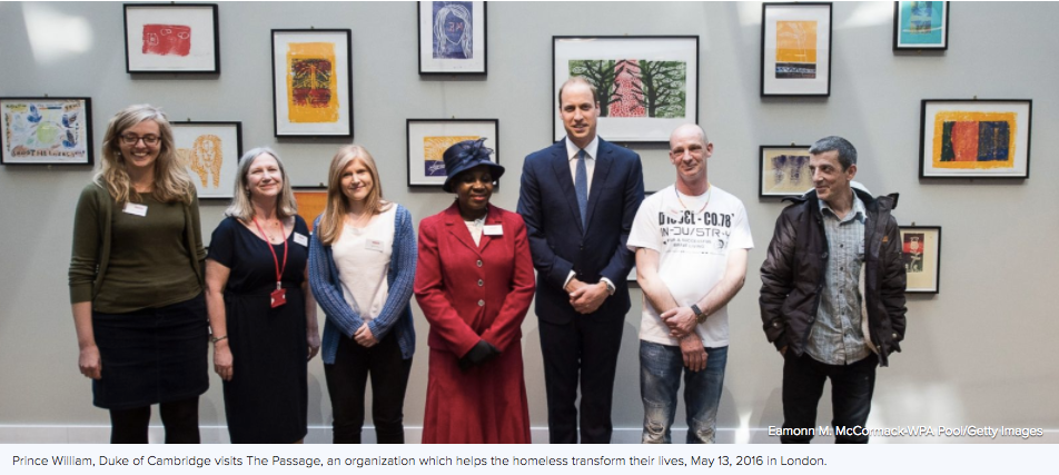 Homeless artists with their artwork we created at The Passage Centre, visited by Prince William
