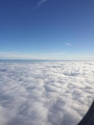 Clouds through a plane window.