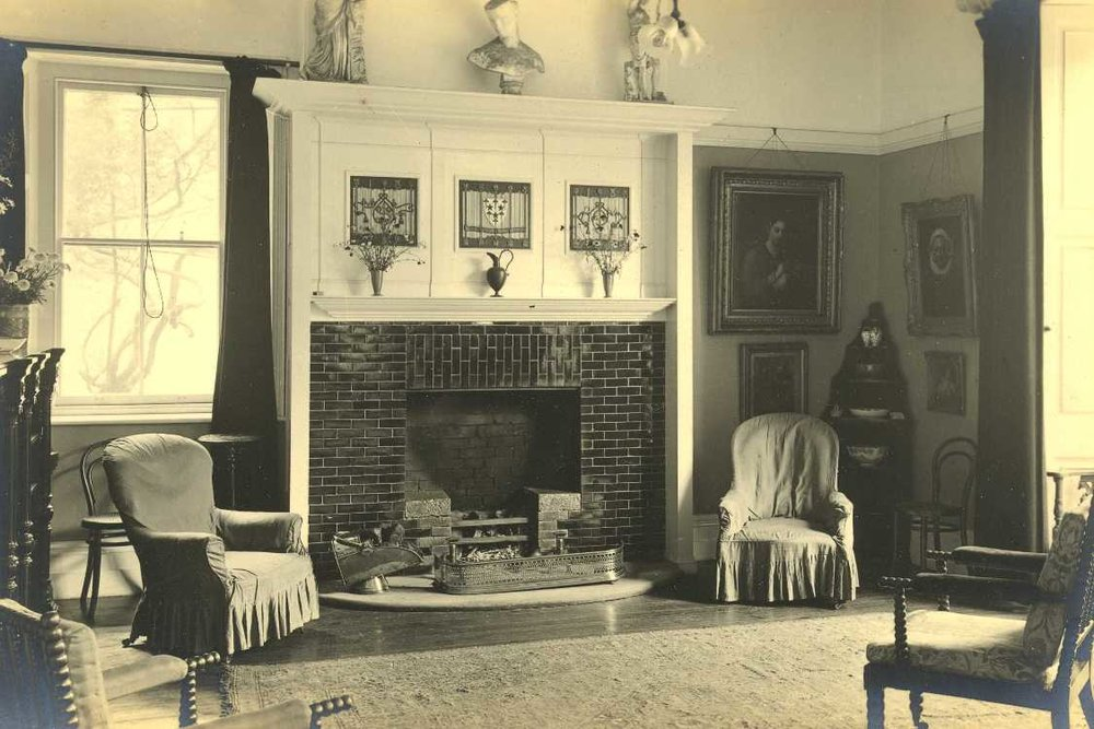 1913 Photograph of existing fireplace removed in the mid-twentieth century